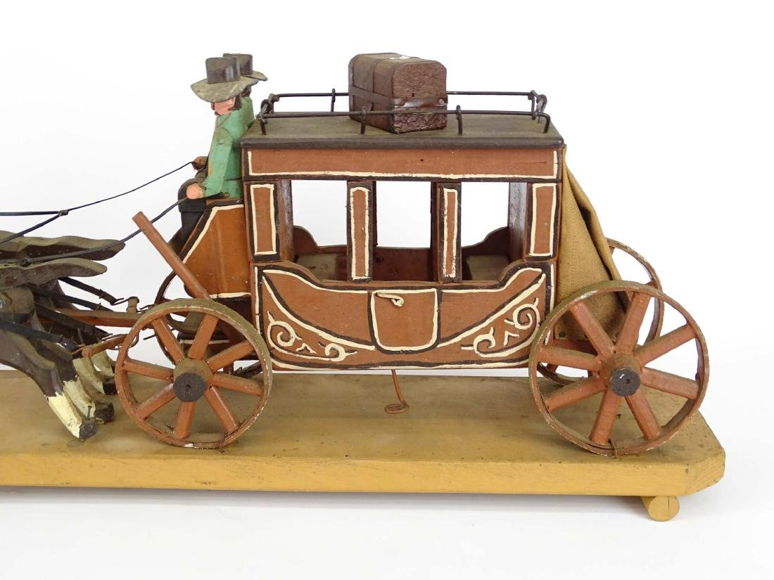 Folk Art Western Horse & Carriage Model - 9