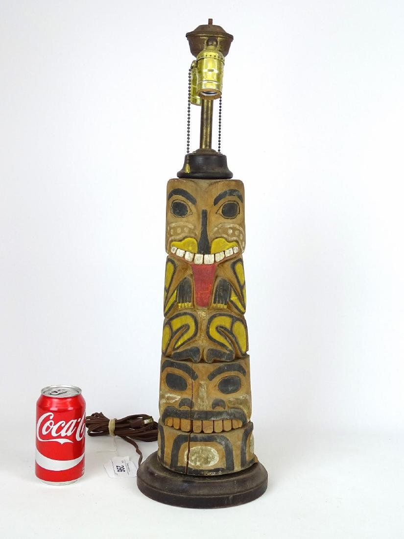 Northwest Coast Carved Lamp