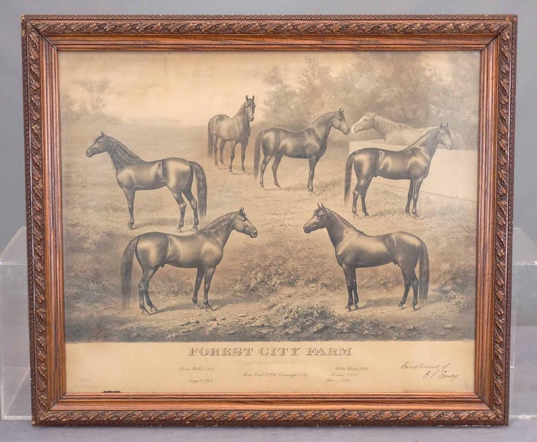 C. 1900 Horse Racing Farm Lithograph