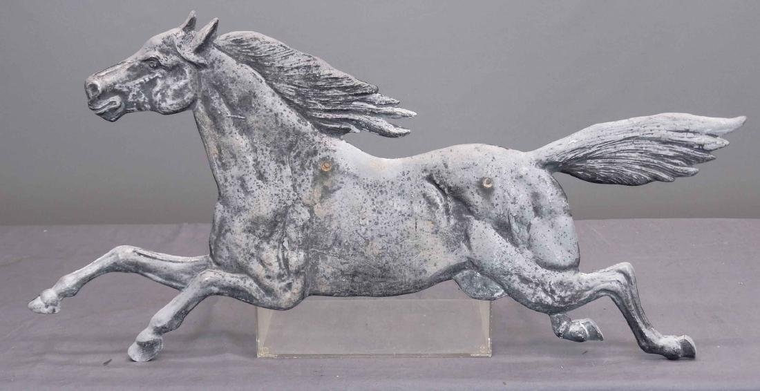 Cast White Metal Horse Sign