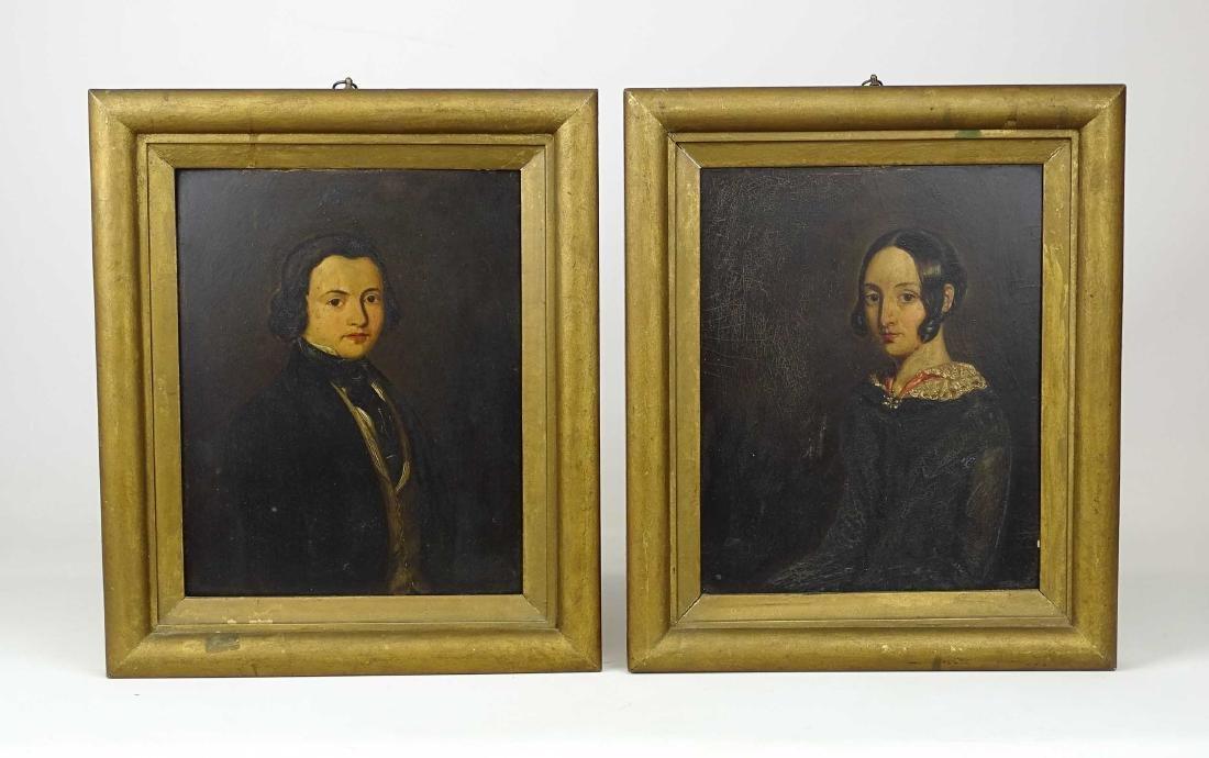 Pair 19th c. Portraits - 2