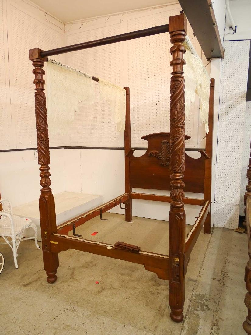 19th c. Carved Bed