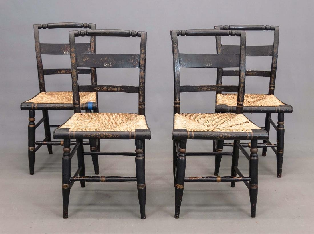 Set Of (4) 19th c. Hitchcock Style Chairs