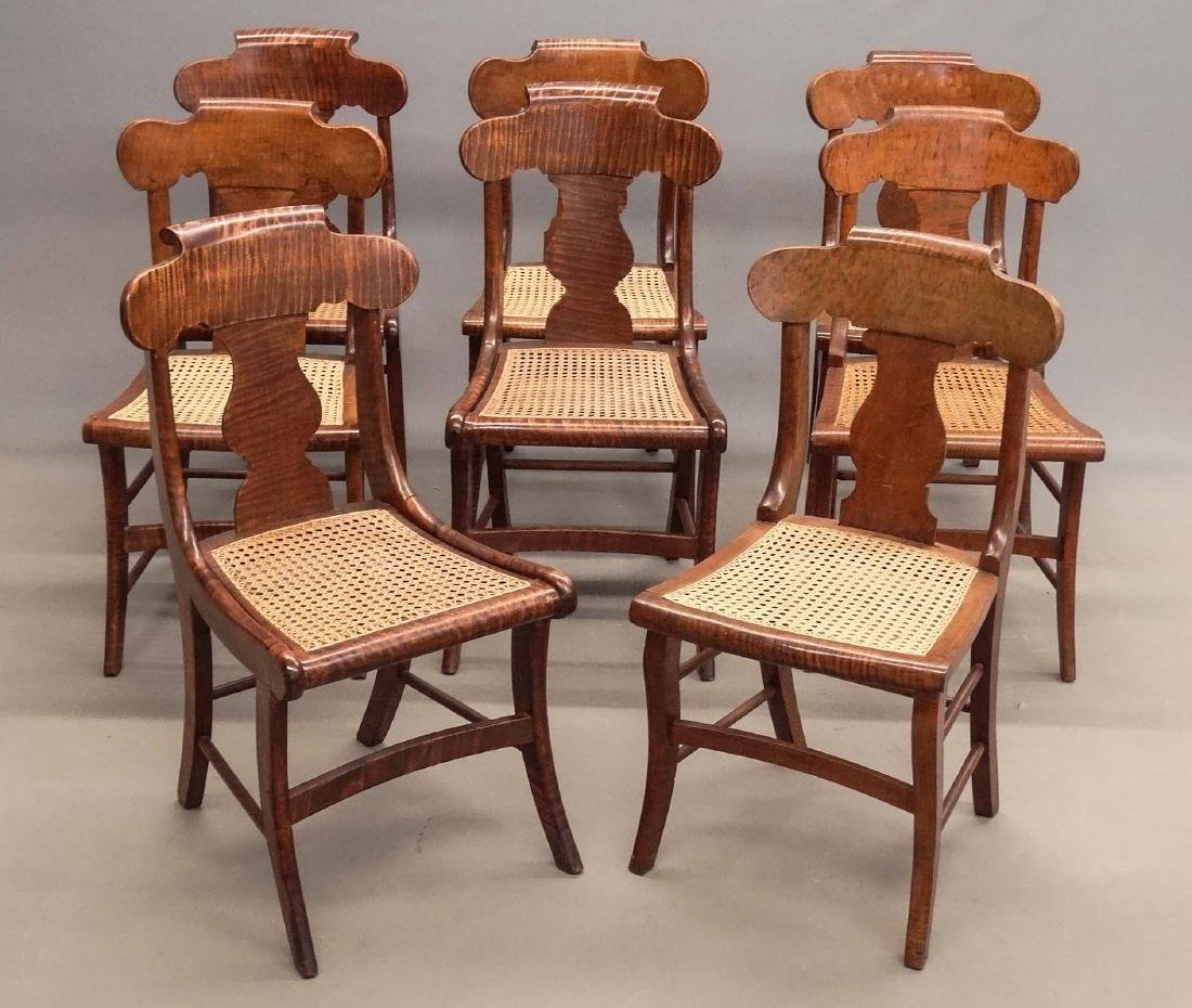 Set Of (8) 19th c. Tiger Maple Chairs