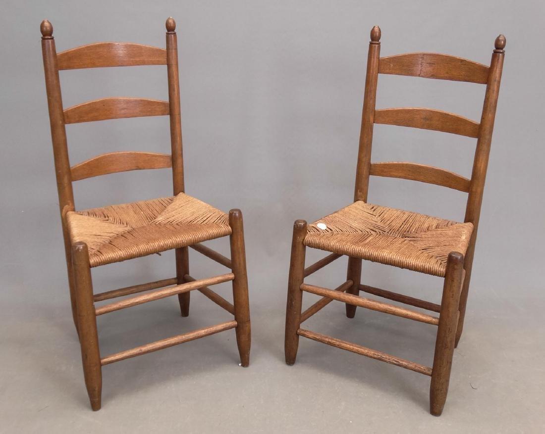 Pair 19th c. Ladderback Chairs