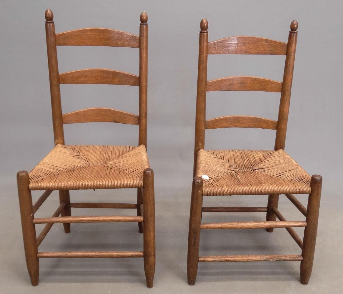 Pair 19th c. Ladderback Chairs - 3