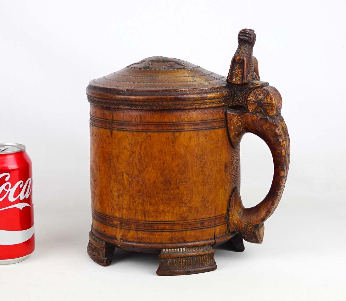 19th c. Wooden Carved Tankard