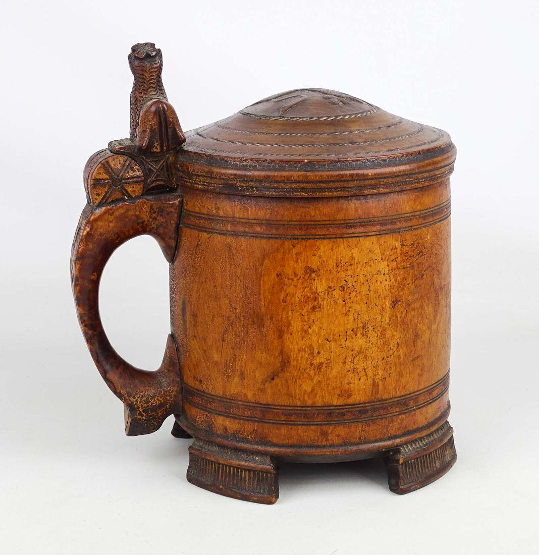19th c. Wooden Carved Tankard - 2