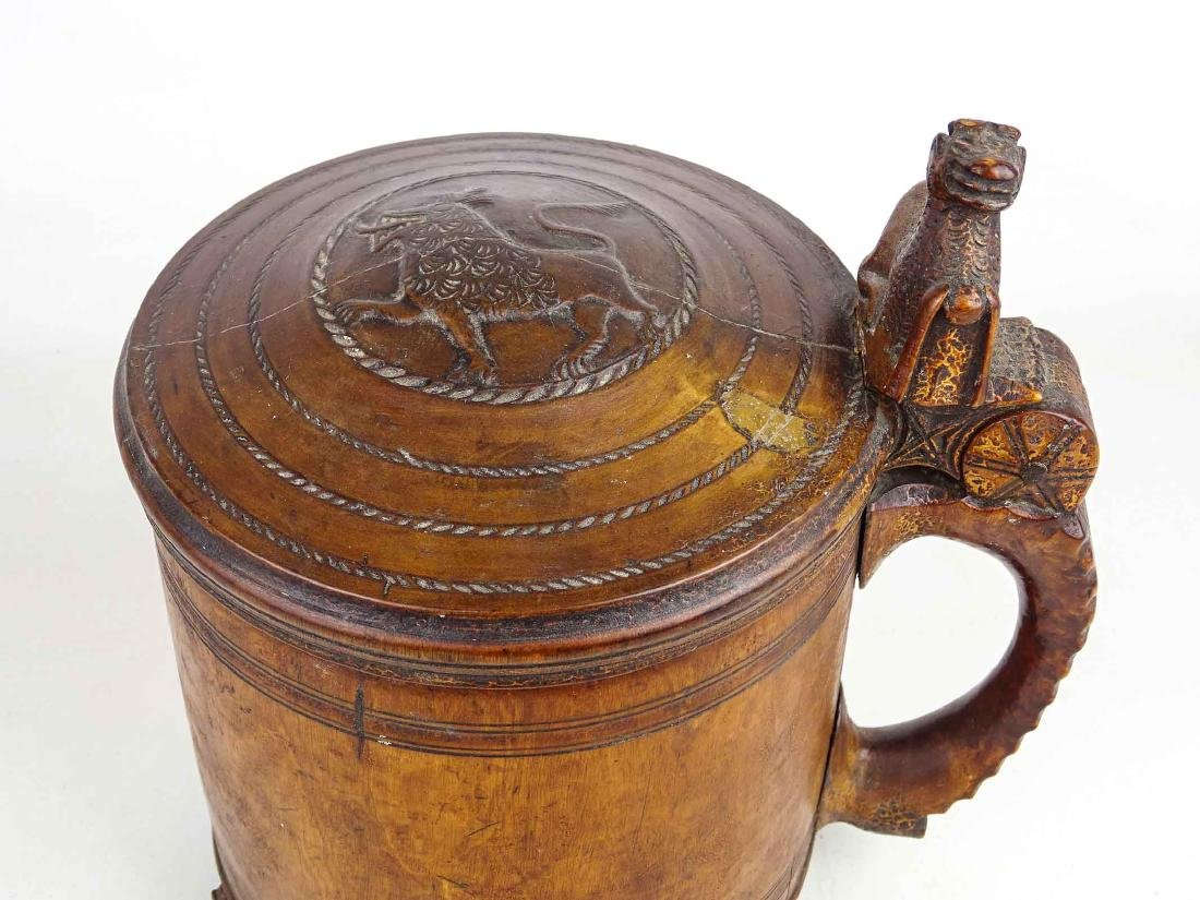 19th c. Wooden Carved Tankard - 3