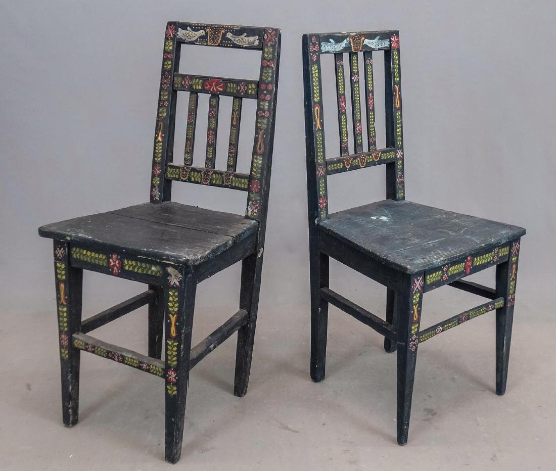 Pair Folk Art Painted Chairs