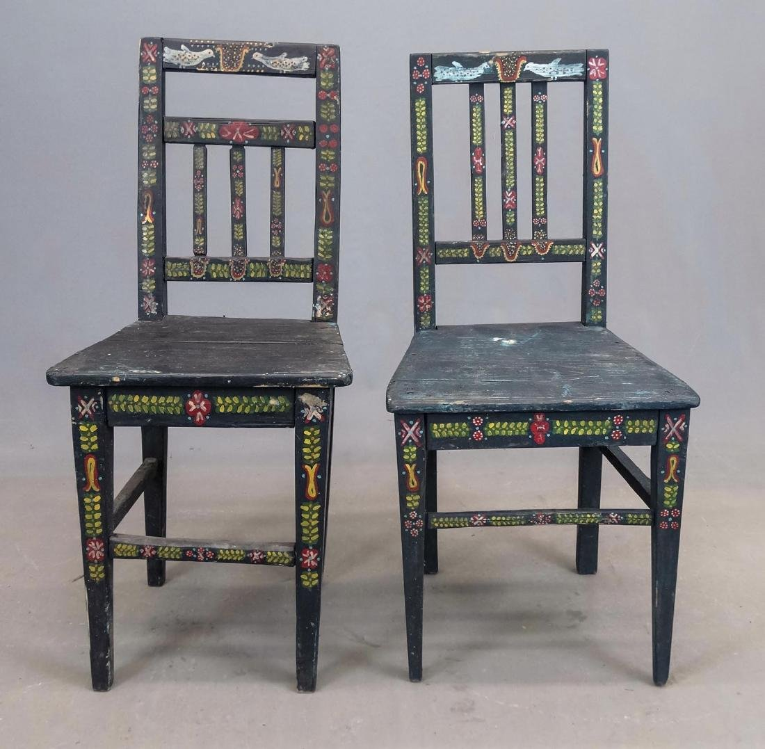 Pair Folk Art Painted Chairs - 2