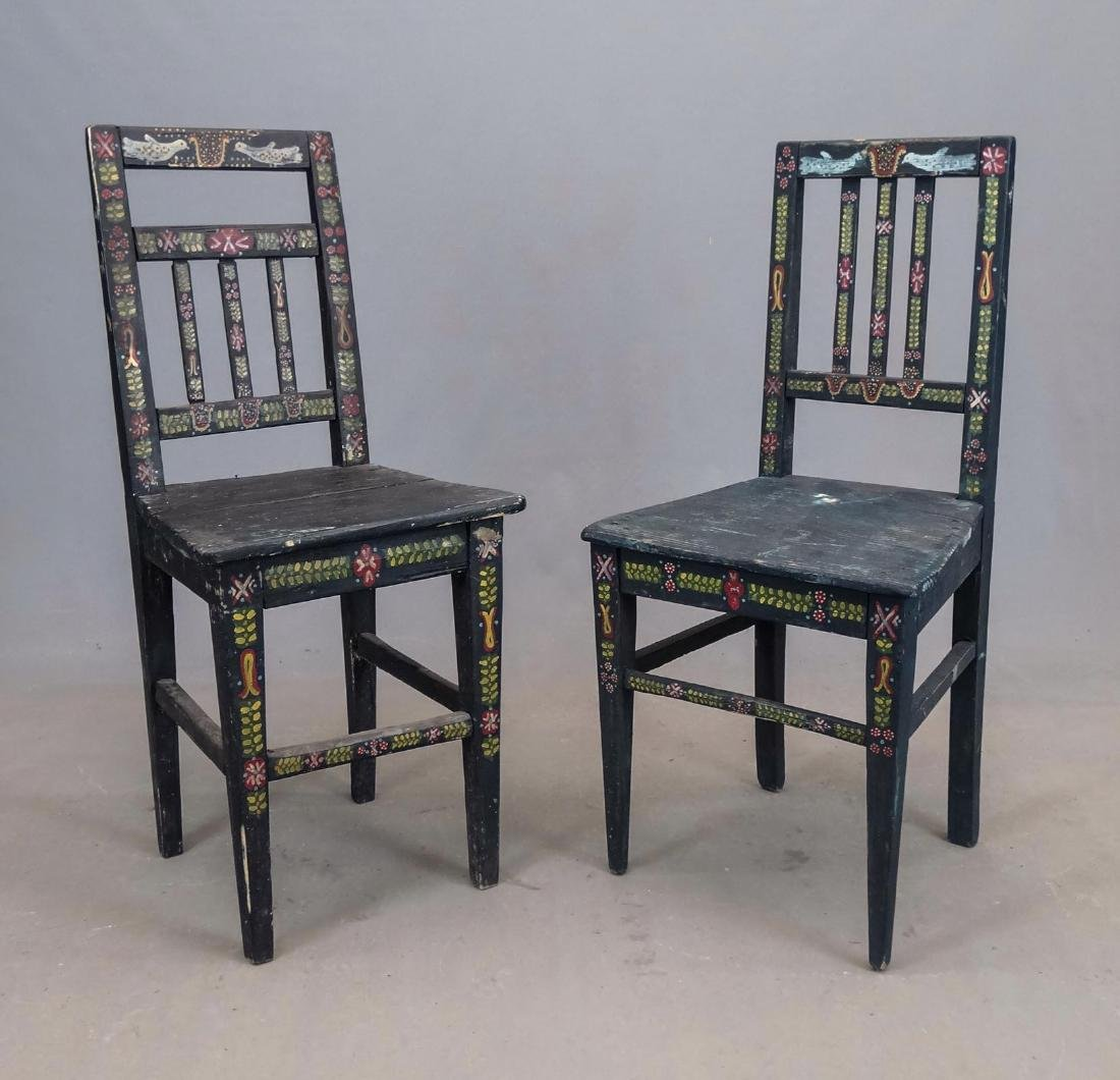 Pair Folk Art Painted Chairs - 3