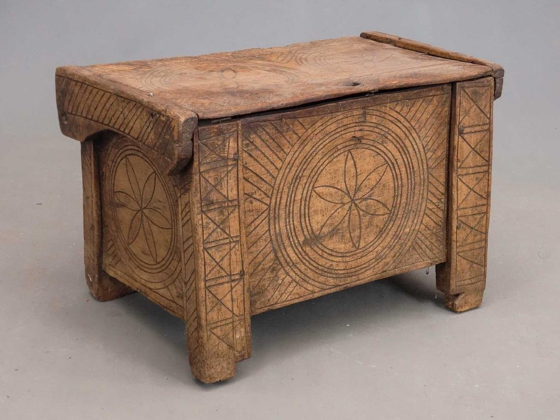 19th c. Carved Trunk
