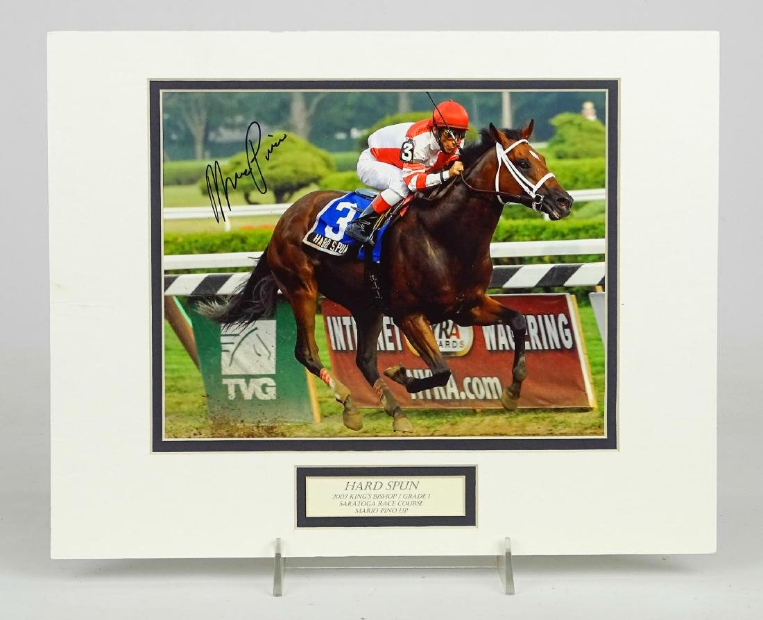 Mario Pino Autographed Horse Racing Photograph