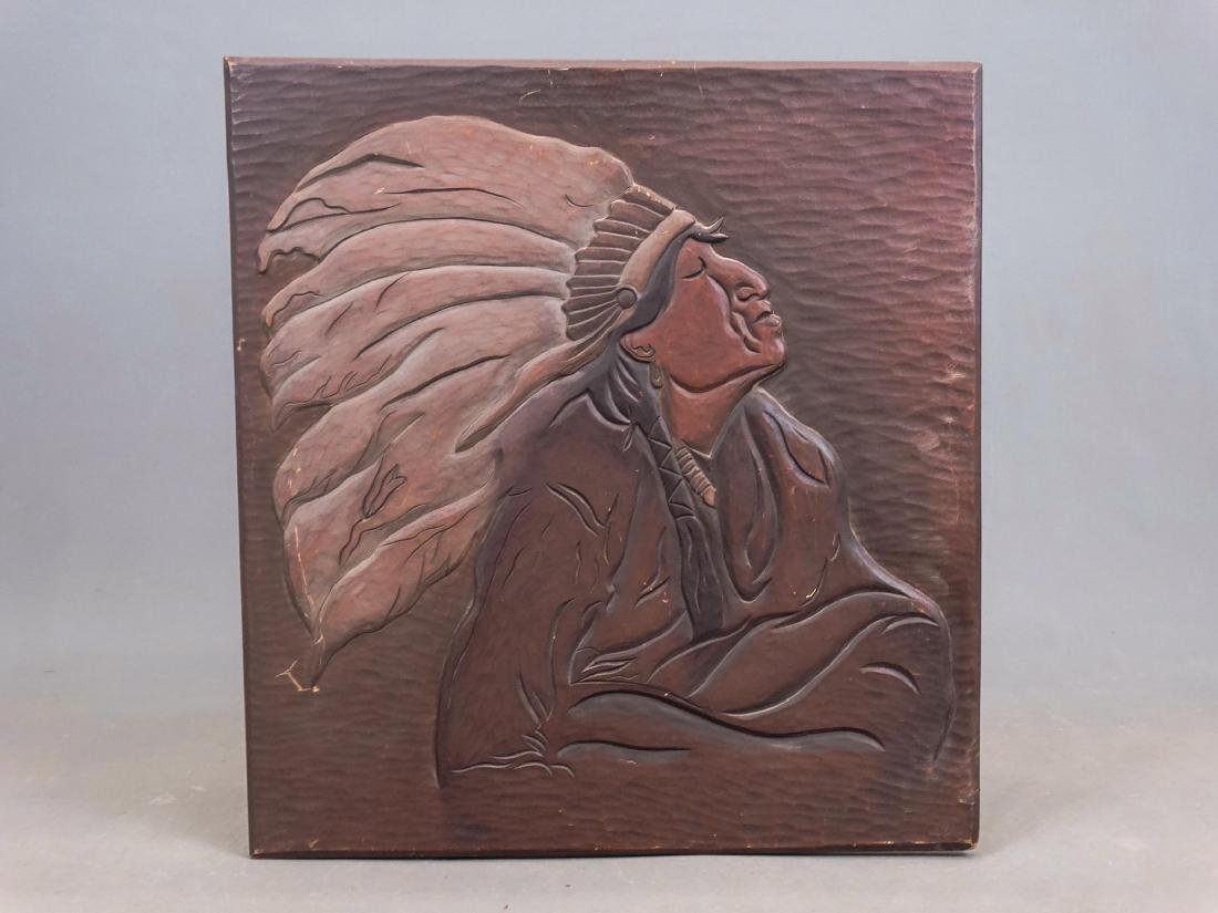 Carved Plaque With Native American