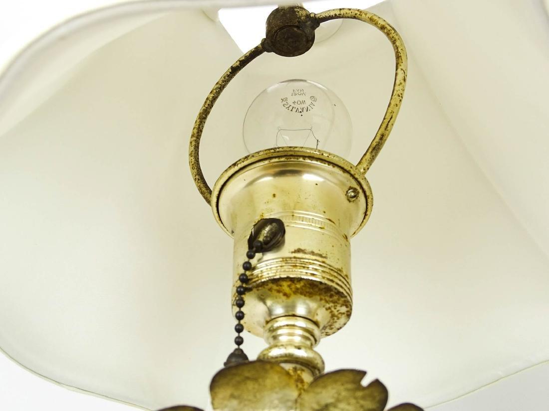 Pair Silvertone Metal Decorative Lamps - 3