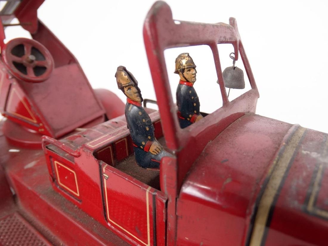 Tin Litho Toy Fire Engine - 5