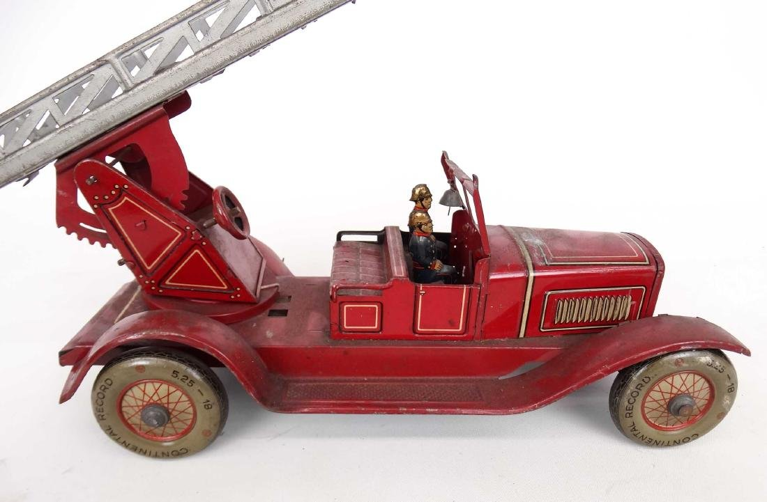 Tin Litho Toy Fire Engine - 6