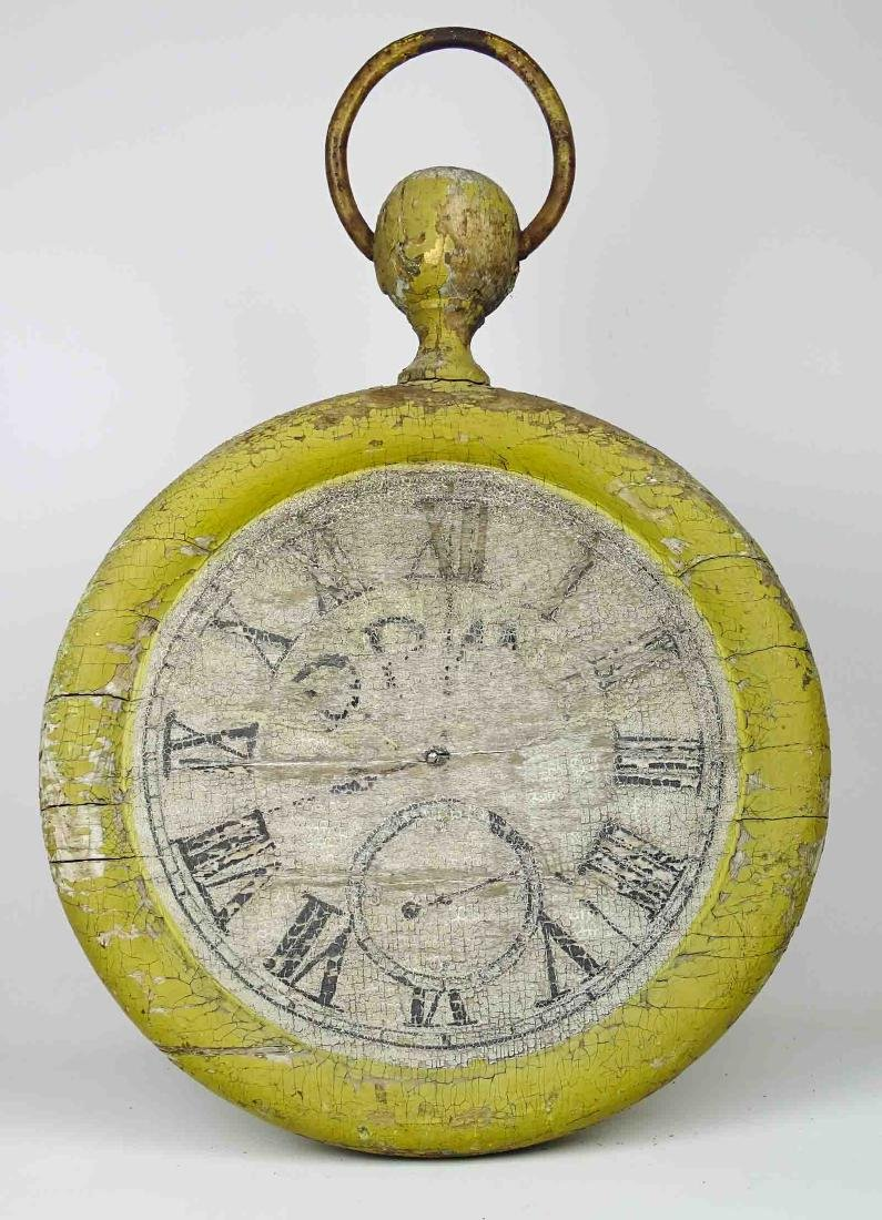 19th c. Wooden Clock Trade Sign - 4