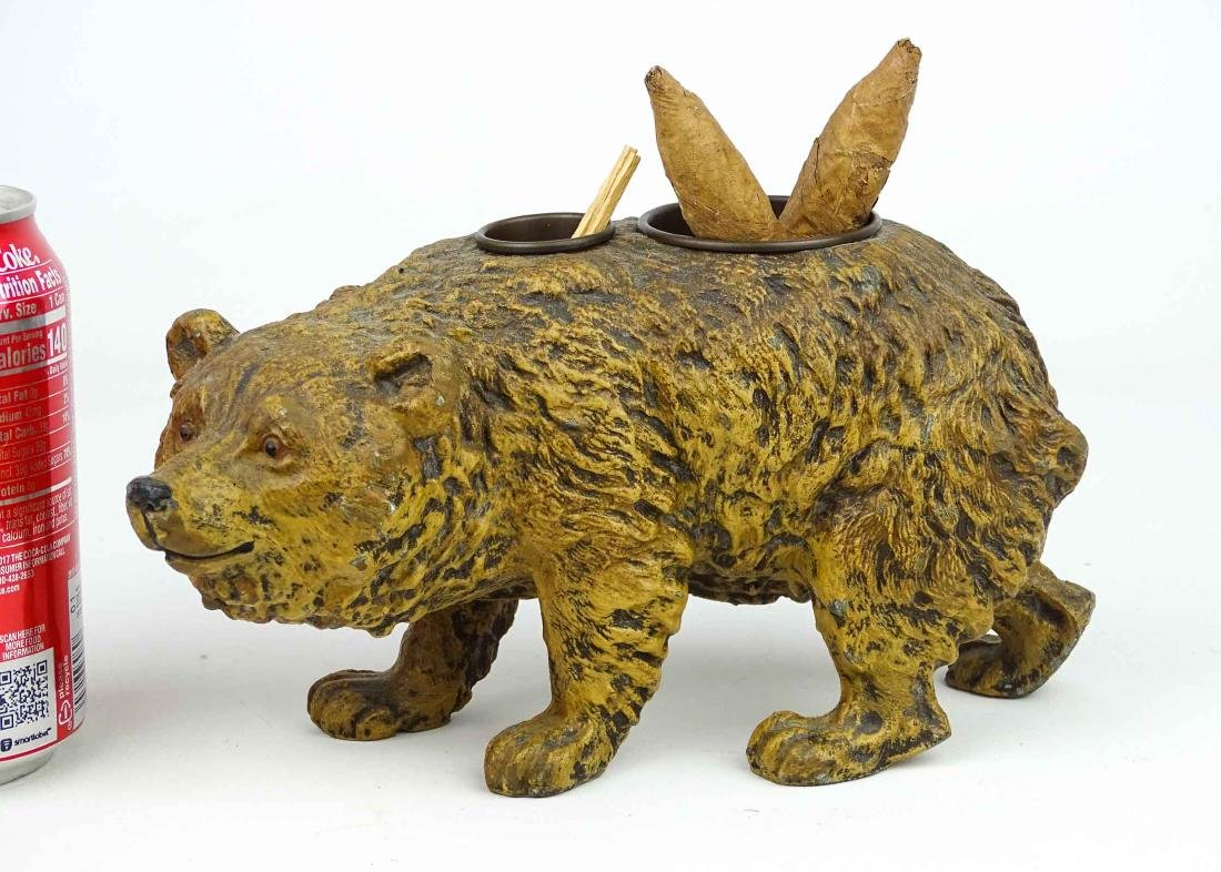 Spelter Metal Bear Cigar & Match Holder