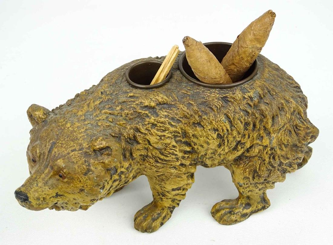 Spelter Metal Bear Cigar & Match Holder - 2