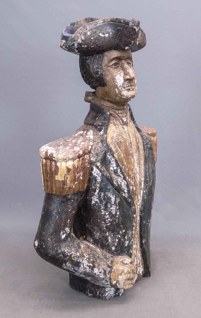 Folk Art Carved Bust Of George Washington - 3