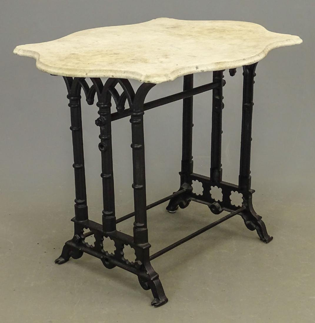 Marble Top Wrought Iron Base Table