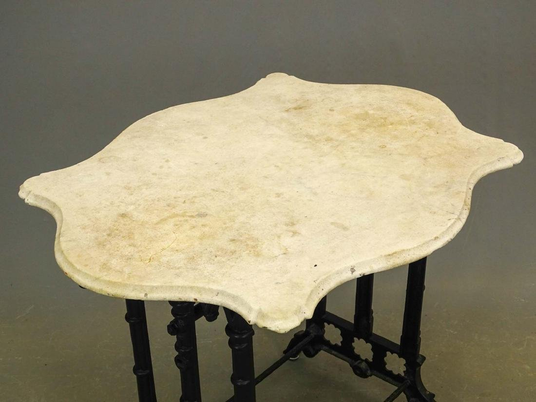 Marble Top Wrought Iron Base Table - 2