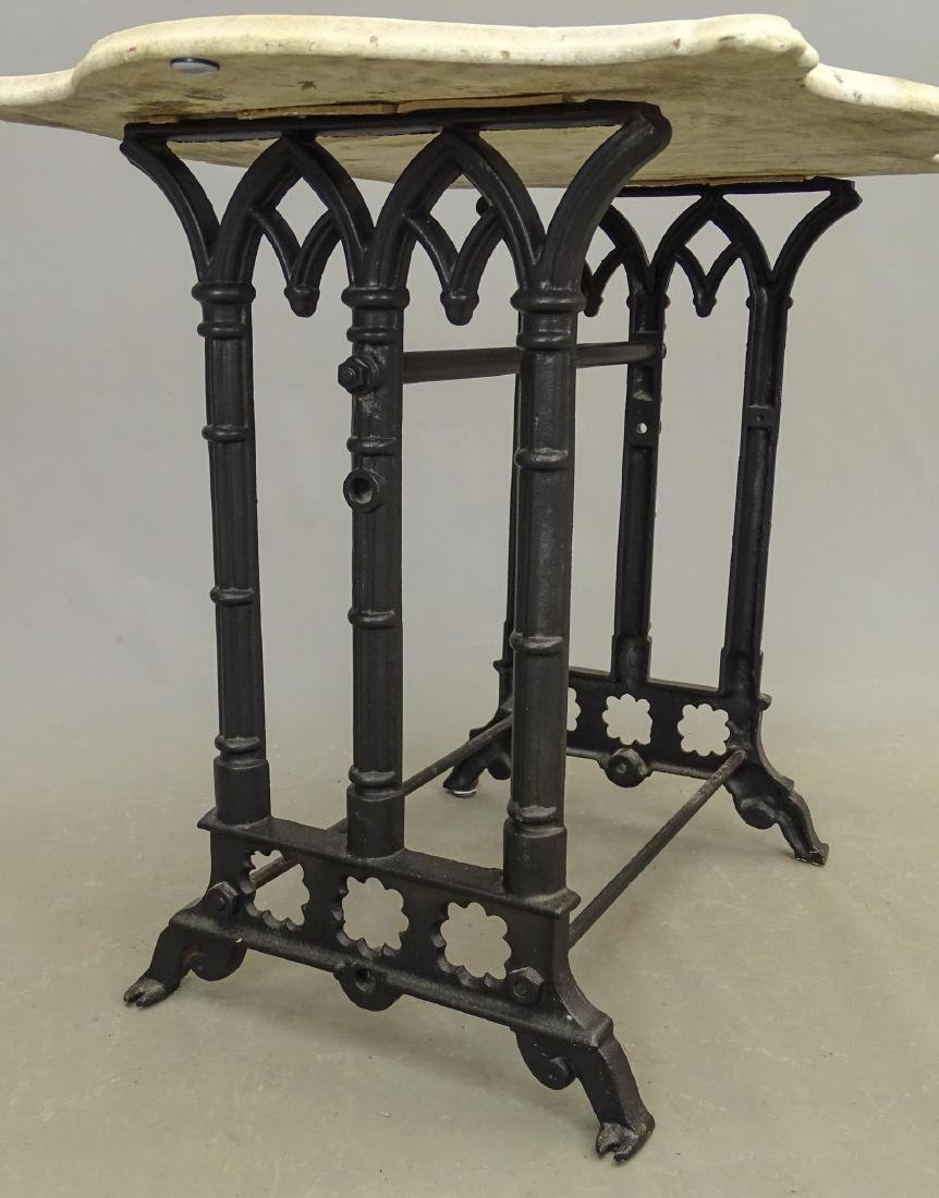 Marble Top Wrought Iron Base Table - 3