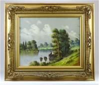 American School, 19th c. Pastel Landscape