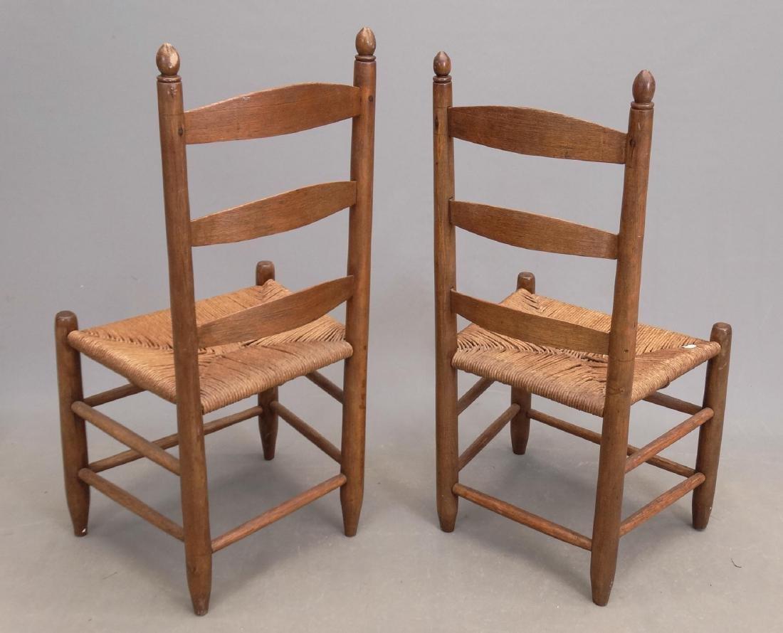 Pair 19th c. Ladderback Chairs - 2