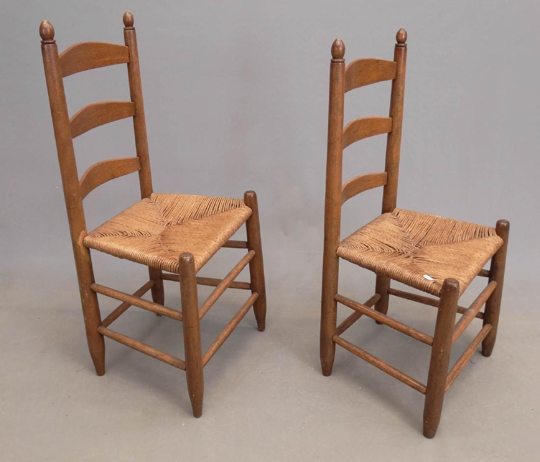 Pair 19th c. Ladderback Chairs - 4