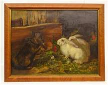 19th c. Painting Of Dog And Rabbits
