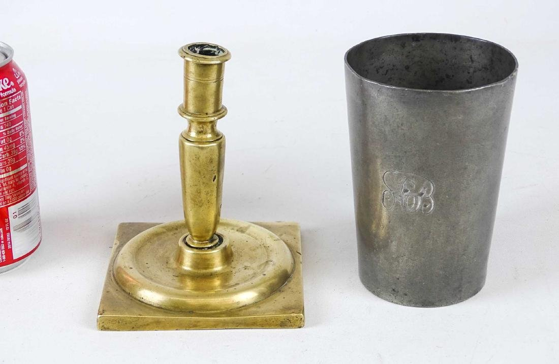 18th c. Candlestick & Pewter Cup