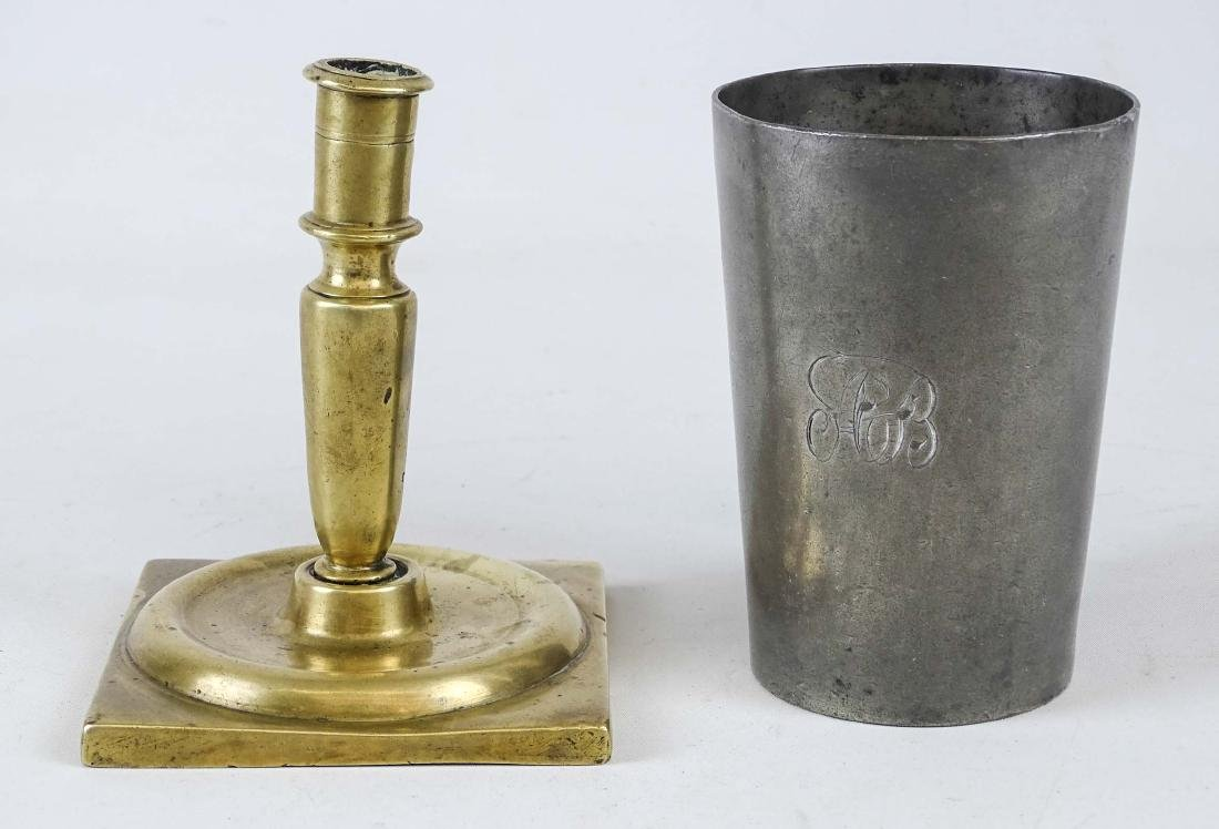 18th c. Candlestick & Pewter Cup - 2