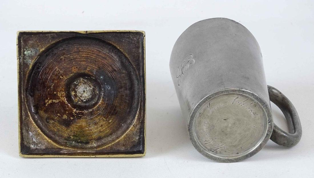 18th c. Candlestick & Pewter Cup - 4