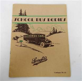 C. 1920's Springfield School Bus Bodies Catalog