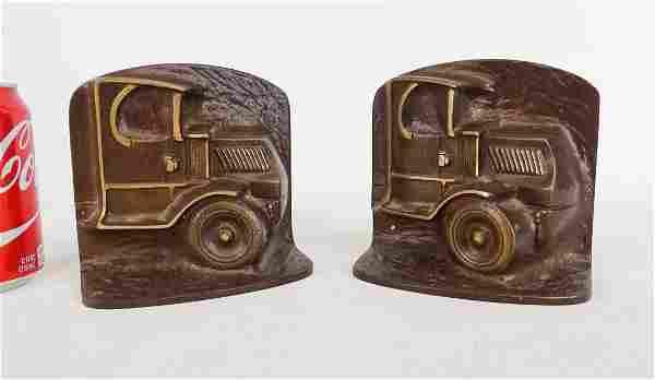 Pair Bronze Truck Bookends