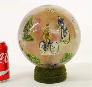 Victorian Hat Holder With Cycling Motif