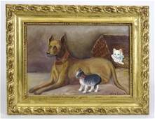 American School Dog With Cats