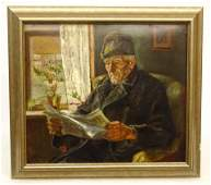 Continental School Man Reading Newspaper