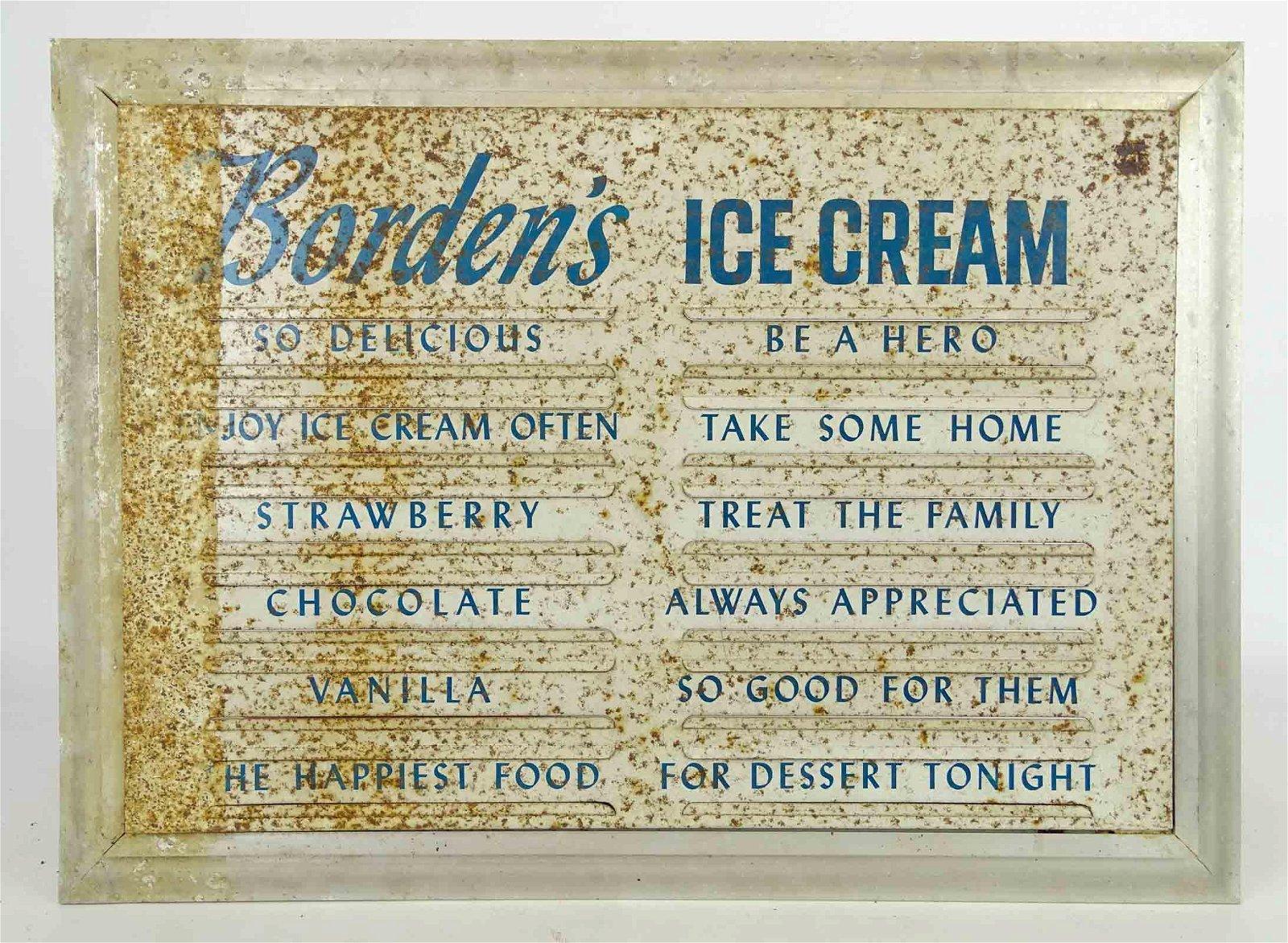 Bordens Ice Cream Tin Sign