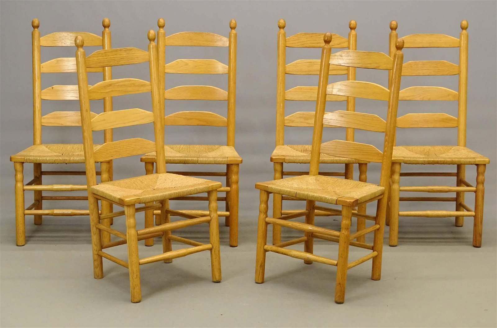Set Of Rush Seat Ladderback Chairs