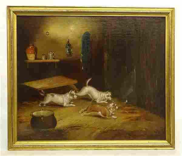 Continental School, Interior Scene With Dogs