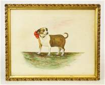 American School Watercolor Of A Dog