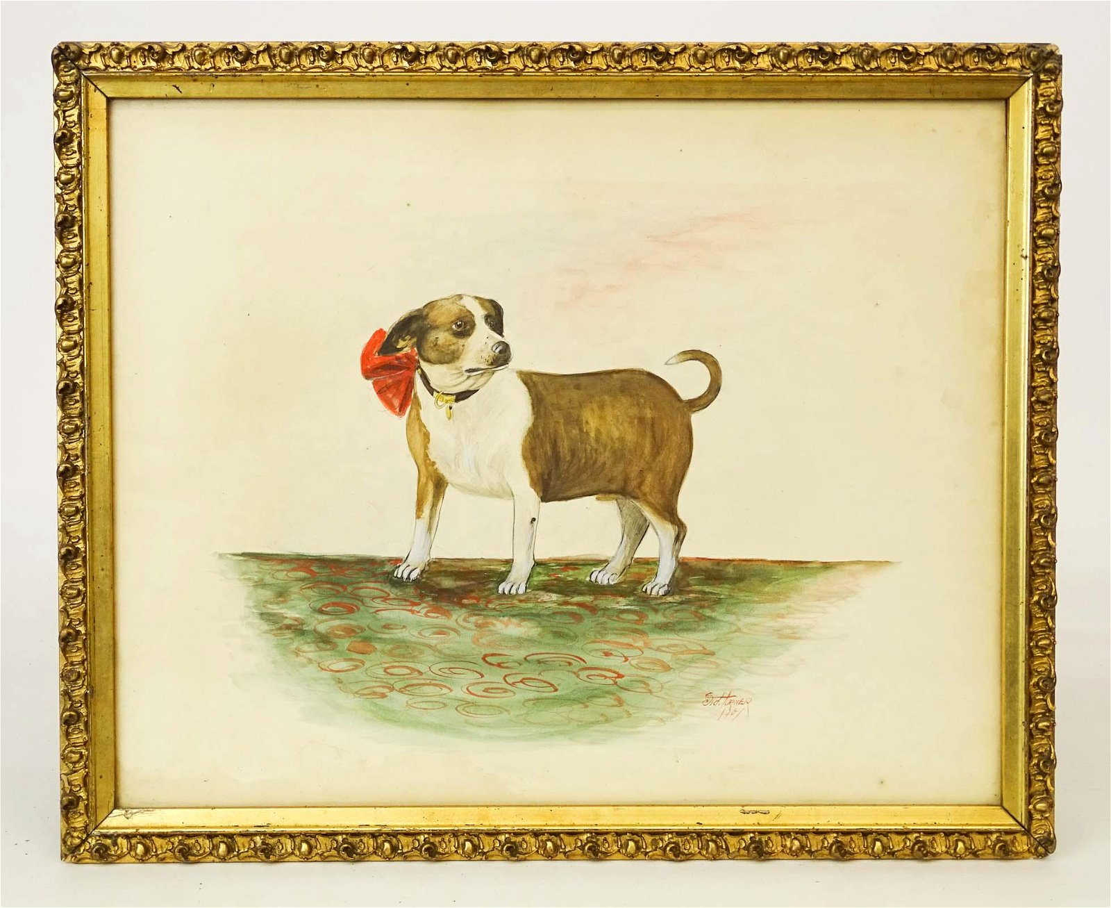 American School, Watercolor Of A Dog