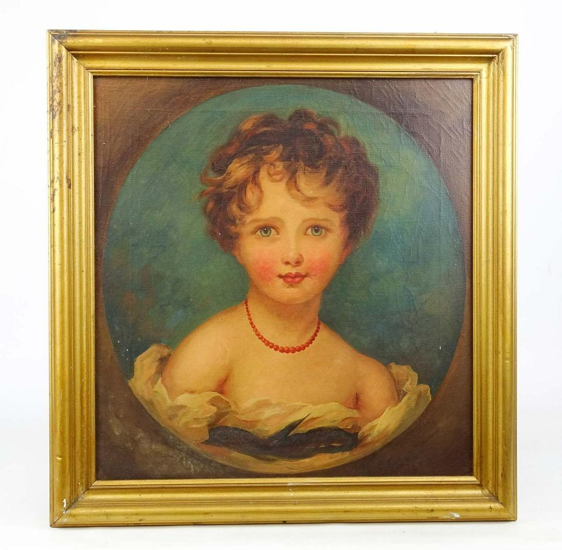 19th c. Portrait Of A Child