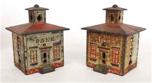 Two Early Cast Iron Cupola Banks