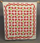C. 1860 Red & Green Applique Quilt