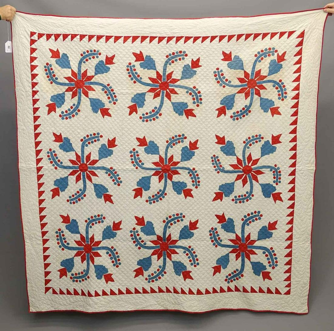 C. 1870 Blue & Red Applique Quilt